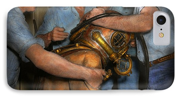 Steampunk - Diver - A Load Off My Shoulders 1936 IPhone Case by Mike Savad