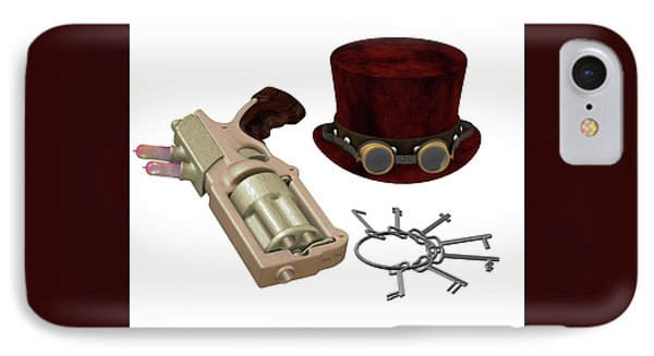 Steampunk Hat Goggles Gun Keys IPhone Case
