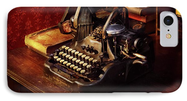 Steampunk - Oliver's Typing Machine IPhone Case by Mike Savad