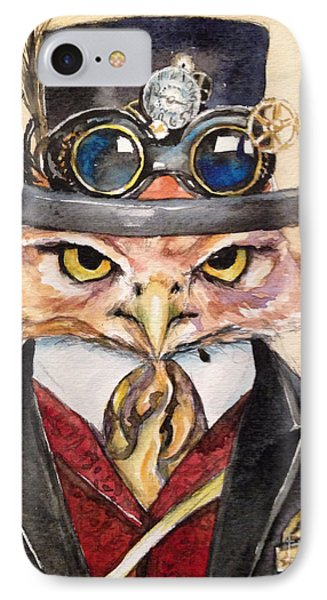 IPhone Case featuring the painting Steampunk Owl Mayor by Christy  Freeman