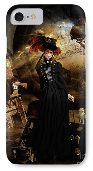 Steampunk Time Traveler IPhone Case by Shanina Conway