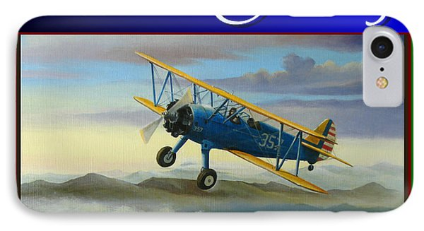 IPhone Case featuring the painting Stearman Christmas Card by Stuart Swartz