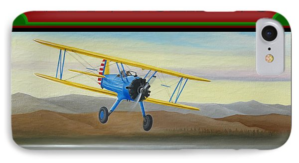 IPhone Case featuring the painting Stearman Morning Flight Christmas Card by Stuart Swartz