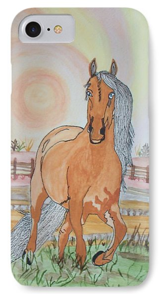 IPhone Case featuring the painting Stech Of A Horse by Connie Valasco