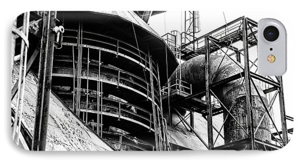 Steel Mill In Black And White - Bethlehem IPhone Case by Bill Cannon
