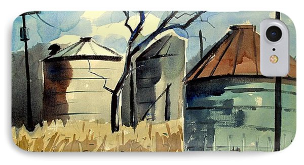 IPhone Case featuring the painting Steel Silos In A Field Matted Glassed Framed by Charlie Spear