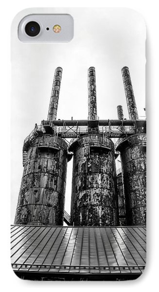 Steel Stacks - The Bethehem Steel Mill In Black And White IPhone Case by Bill Cannon