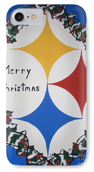 IPhone Case featuring the painting Steelers Christmas Card by Jeffrey Koss