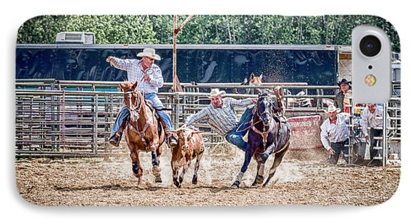 IPhone Case featuring the photograph Steer Wrestling With An Audience by Darcy Michaelchuk