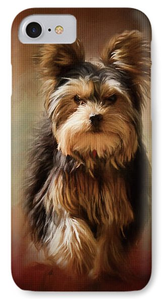 Stepping Into Autumn Yorkshire Terrier Art IPhone Case by Jai Johnson