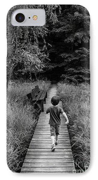 IPhone Case featuring the photograph Stepping Into Adventure - D009927-bw by Daniel Dempster