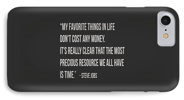 Steve Jobs Time Quote Tee IPhone Case by Edward Fielding