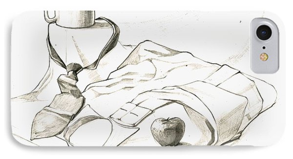 Still Life Drawing With A Cup N A Neck Tie N A Shirt N An Apple IPhone Case by Makarand Joshi