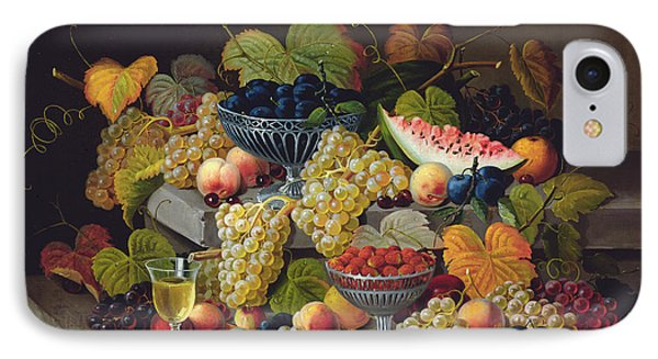 Still Life Of Melon Plums Grapes Cherries Strawberries On Stone Ledge IPhone 7 Case by Severin Roesen