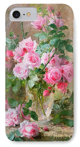 Still Life Of Roses In A Glass Vase  IPhone Case by Frans Mortelmans