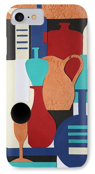Still Life Paper Collage Of Wine Glasses Bottles And Musical Instruments Phone Case by Mal Bray