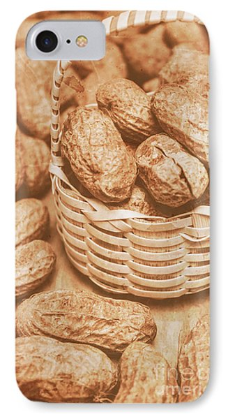 Still Life Peanuts In Small Wicker Basket On Table IPhone Case