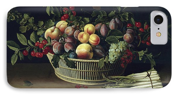 Still Life With A Basket Of Fruit And A Bunch Of Asparagus IPhone 7 Case by Louise Moillon