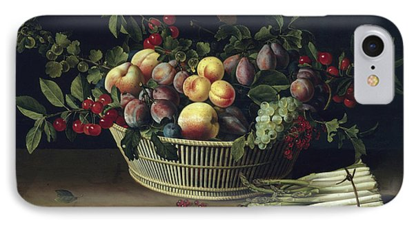Still Life With A Basket Of Fruit And A Bunch Of Asparagus IPhone Case by Louise Moillon