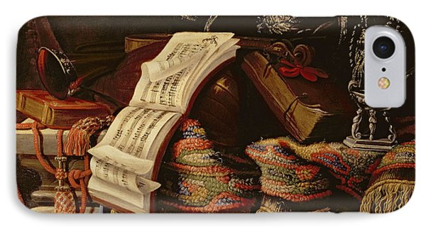 Still Life With A Book Of Sheet Music IPhone Case by Francesco Fieravino