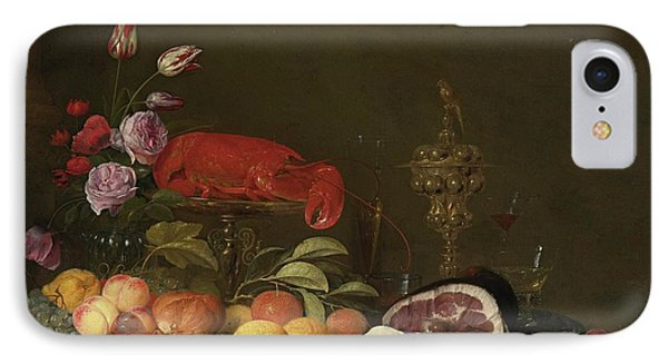 Still Life With A Vase Of Roses And Tulips IPhone Case by MotionAge Designs
