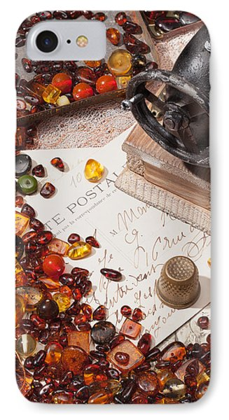 IPhone Case featuring the photograph Still-life With Amber And Sewing Machines. by Andrey  Godyaykin
