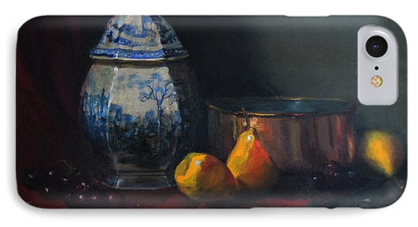 IPhone Case featuring the painting Still Life With Antique Dutch Vase by Barry Williamson