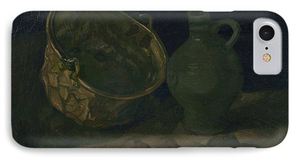 Still Life With Brass Cauldron And Jug, 1885 IPhone Case by Vincent Van Gogh