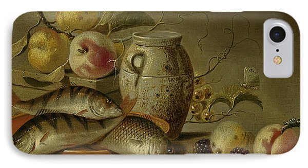 Still Life With Clay Jug, Fish And Fruits IPhone Case