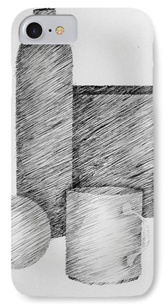 Still Life With Cup Bottle And Shapes Phone Case by Michelle Calkins