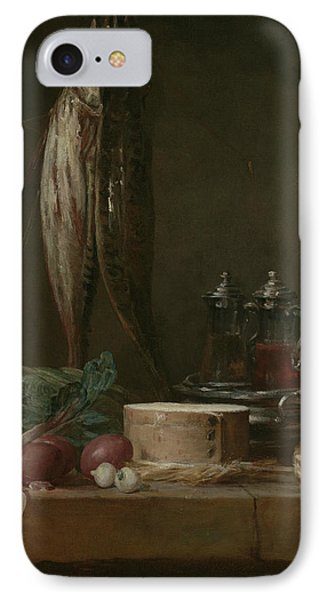 Still Life With Fish, Vegetables, Gougeres, Pots, And Cruets On A Table  IPhone Case