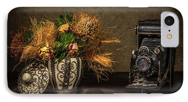 Still Life With Flowers And Camera IPhone Case by Wim Lanclus