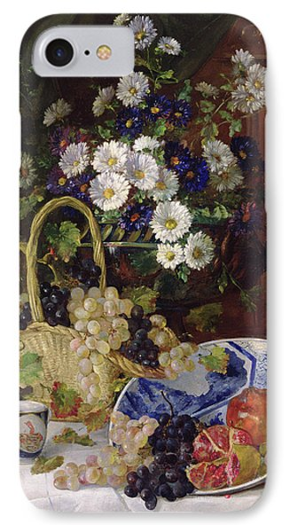 Still Life With Flowers And Fruit IPhone Case by Eugene Henri Cauchois