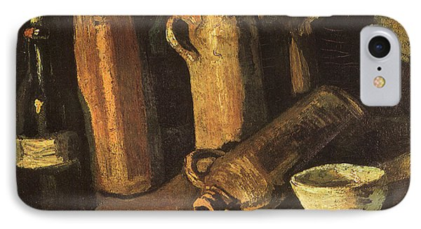 Still Life With Four Stone Bottles, Flask And White Cup, 1884 IPhone Case by Vincent Van Gogh