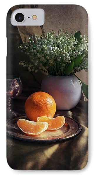 Still Life With Fresh Flowers And Tangerines IPhone Case by Jaroslaw Blaminsky