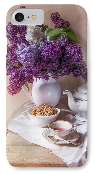 IPhone Case featuring the photograph Still Life With Fresh Lilac And China Pots by Jaroslaw Blaminsky