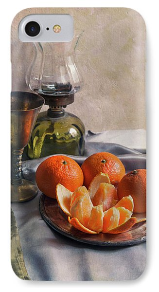 Still Life With Fresh Tangerines And Oil Lamp IPhone Case by Jaroslaw Blaminsky