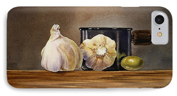Still Life With Garlic And Olive IPhone Case by Irina Sztukowski