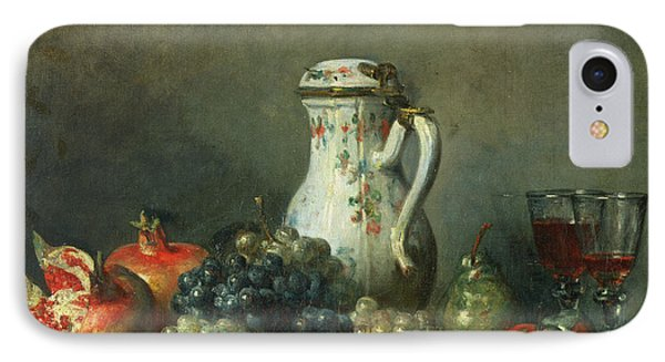 Still Life With Grapes And Pomegranates IPhone Case by Jean-Baptiste Simeon Chardin
