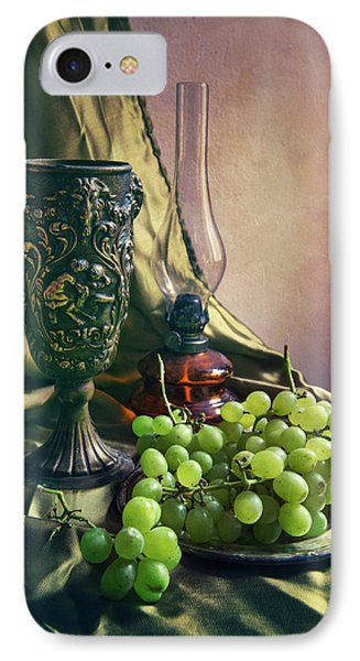 IPhone Case featuring the photograph Still Life With Green Grapes by Jaroslaw Blaminsky