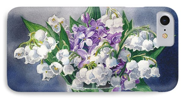 Still Life With Lilacs And Lilies Of The Valley IPhone Case by Sergey Lukashin