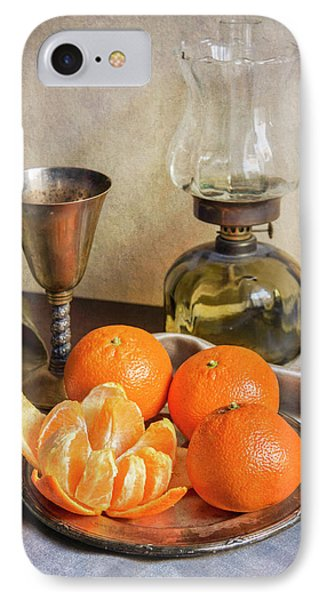 IPhone Case featuring the photograph Still Life With Oil Lamp And Fresh Tangerines by Jaroslaw Blaminsky