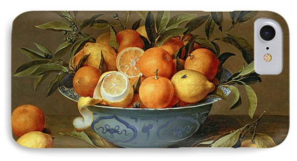 Still Life With Oranges And Lemons In A Wan-li Porcelain Dish  IPhone 7 Case by Jacob van Hulsdonck