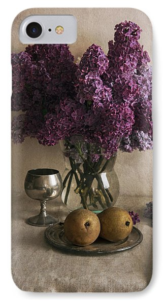 IPhone Case featuring the photograph Still Life With Pears And Fresh Lilac by Jaroslaw Blaminsky