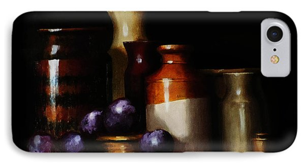 IPhone Case featuring the painting Still Life With Plums by Barry Williamson