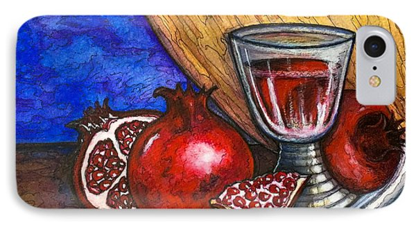 IPhone Case featuring the painting Still Life With Pomegranate And Goblet 1 by Rae Chichilnitsky