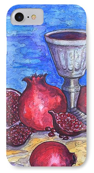 IPhone Case featuring the painting Still Life With Pomegranate And Goblet 2 by Rae Chichilnitsky