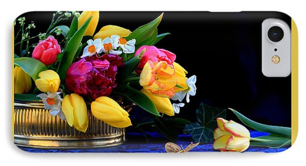 Still Life  With Tulips And Butterfly IPhone Case by Rusalka Koroleva
