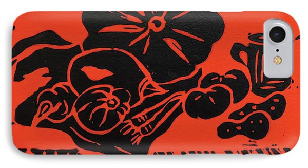 Still Life With Veg And Utensils Black On Red IPhone Case by Caroline Street