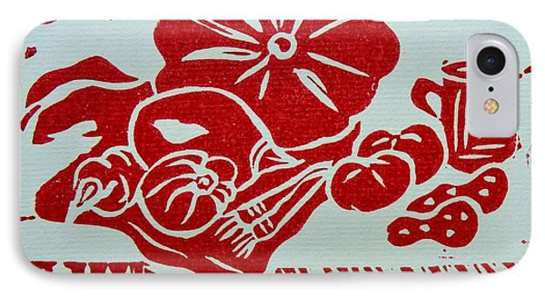 Still Life With Veg And Utensils Red On White IPhone Case